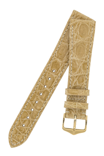 Hirsch Genuine Croco Glossy Crocodile Skin Watch Strap in Beige