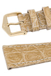Hirsch Genuine Croco Glossy Crocodile Skin Watch Strap in Beige (Keepers)