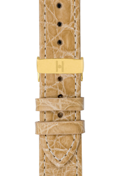 Hirsch Genuine Croco Glossy Crocodile Skin Watch Strap in Beige (with Polished Gold Steel Sport Deployment Clasp)
