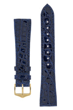 Hirsch GENUINE CROCO Shiny Crocodile Leather Watch Strap in BLUE
