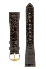 Hirsch GENUINE CROCO Shiny Crocodile Leather Watch Strap in BROWN