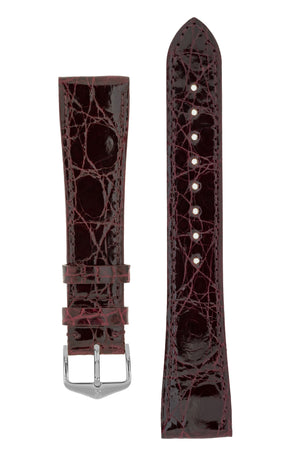 Hirsch Genuine Croco Glossy Crocodile Skin Watch Strap in Burgundy (with Polished Silver Steel H-Tradition Buckle)