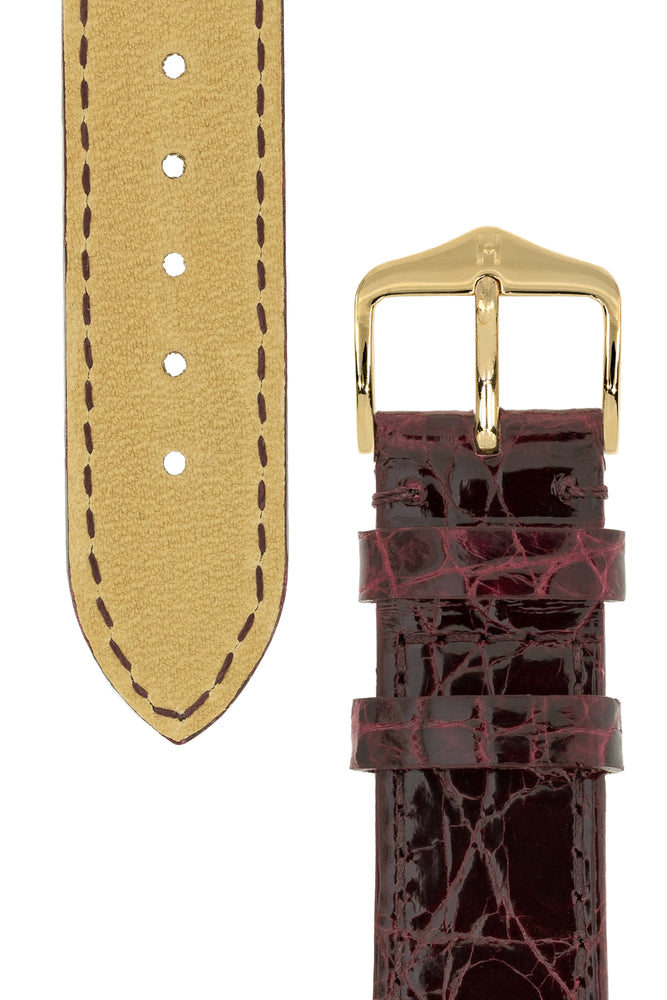 Hirsch Genuine Croco Glossy Crocodile Skin Watch Strap in Burgundy (Tapers & Buckle)