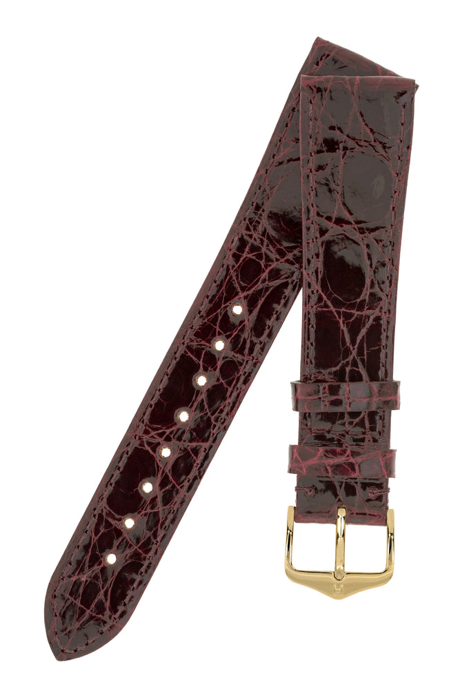 Load image into Gallery viewer, Hirsch Genuine Croco Glossy Crocodile Skin Watch Strap in Burgundy