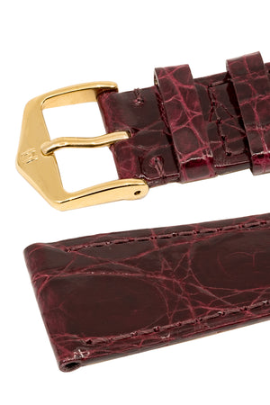 Load image into Gallery viewer, Hirsch Genuine Croco Glossy Crocodile Skin Watch Strap in Burgundy (Keepers)