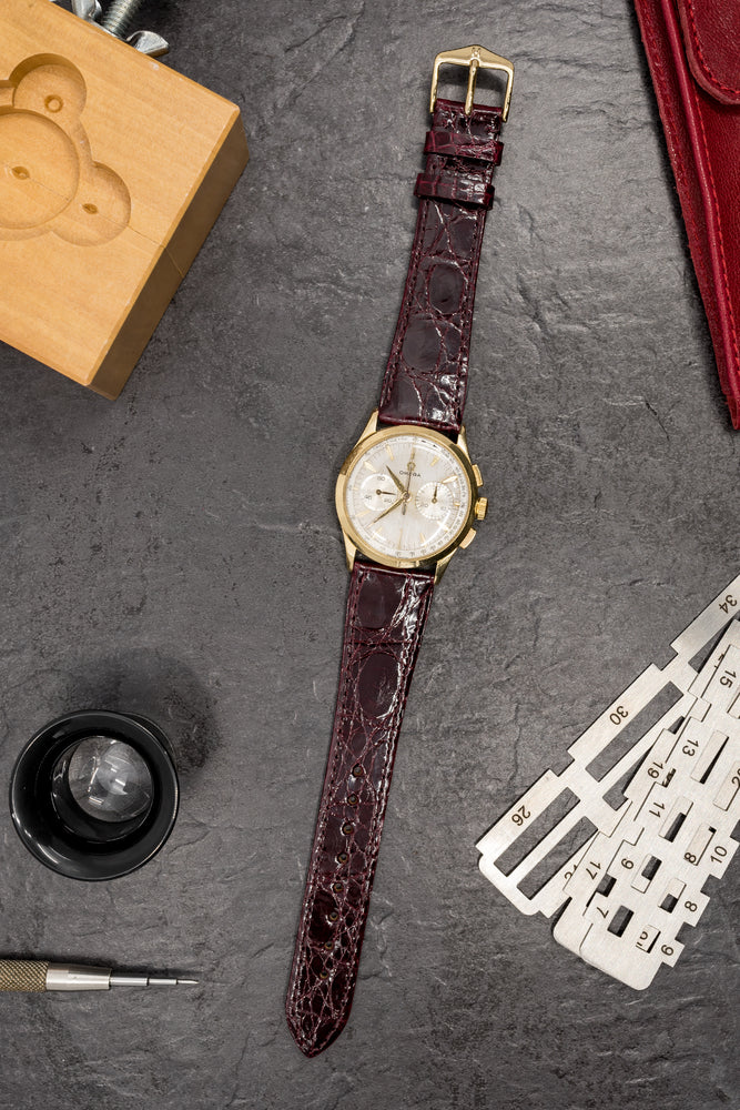 Load image into Gallery viewer, Hirsch Genuine Croco Glossy Crocodile Skin Watch Strap in Burgundy (Promo Photo)