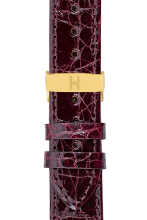 Load image into Gallery viewer, Hirsch Genuine Croco Glossy Crocodile Skin Watch Strap in Burgundy (with Polished Gold Steel Sport Deployment Clasp)