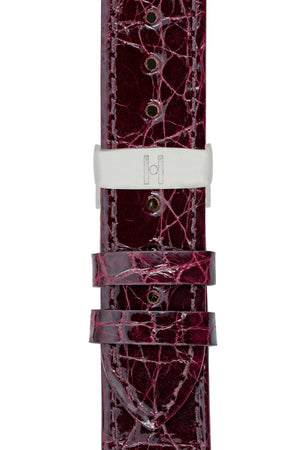 Load image into Gallery viewer, Hirsch Genuine Croco Glossy Crocodile Skin Watch Strap in Burgundy (with Polished Silver Steel Sport Deployment Clasp)