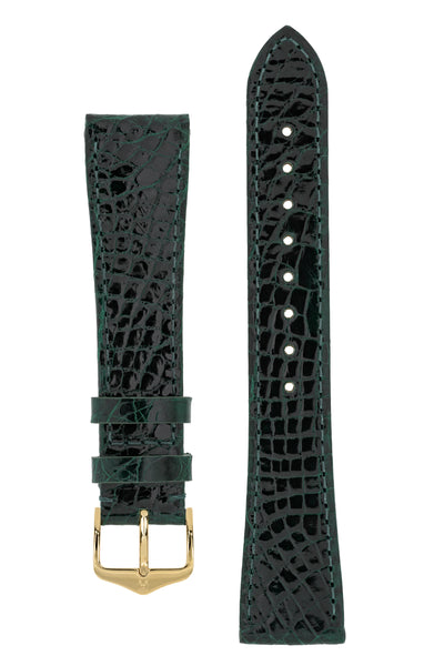 Hirsch Genuine Croco Glossy Crocodile Skin Watch Strap in Green (with Polished Gold Steel H-Tradition Buckle)