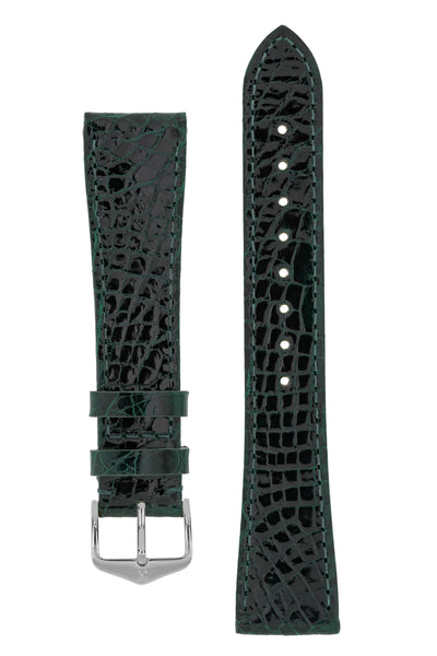 Hirsch Genuine Croco Glossy Crocodile Skin Watch Strap in Green (with Polished Silver Steel H-Tradition Buckle)