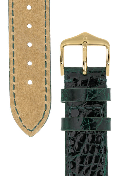 Hirsch Genuine Croco Glossy Crocodile Skin Watch Strap in Green (Tapers & Buckle)