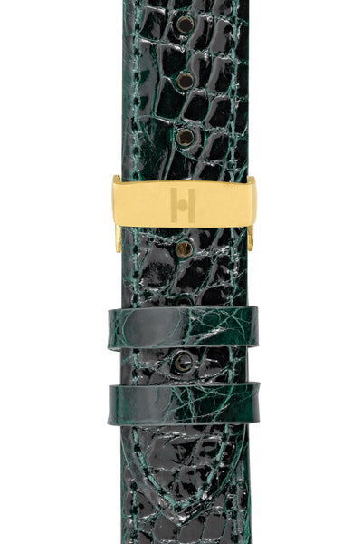 Hirsch Genuine Croco Glossy Crocodile Skin Watch Strap in Green (with Polished Gold Steel Sport Deployment Clasp)