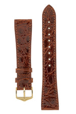 Hirsch GENUINE CROCO Shiny Crocodile Leather Watch Strap in GOLD BROWN
