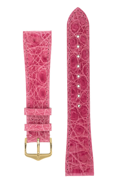 Hirsch GENUINE CROCO Shiny Crocodile Leather Watch Strap in PINK