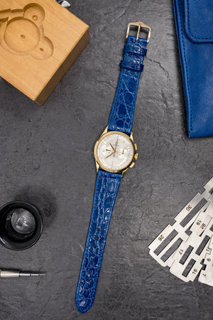 Hirsch Genuine Croco Glossy Crocodile Skin Watch Strap in Royal Blue (Promo Photo)