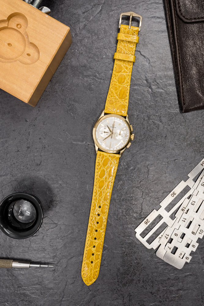 Load image into Gallery viewer, Hirsch Genuine Croco Glossy Crocodile Skin Watch Strap in Yellow (Promo Photo)