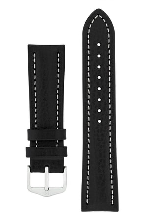 Hirsch BUFFALO Calf Leather Watch Strap in BLACK