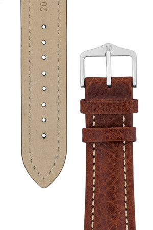 Hirsch BUFFALO Calf Leather Watch Strap in BROWN