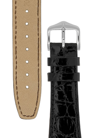 Hirsch GENUINE CROCO Open Ended Crocodile Leather Watch Strap in BLACK