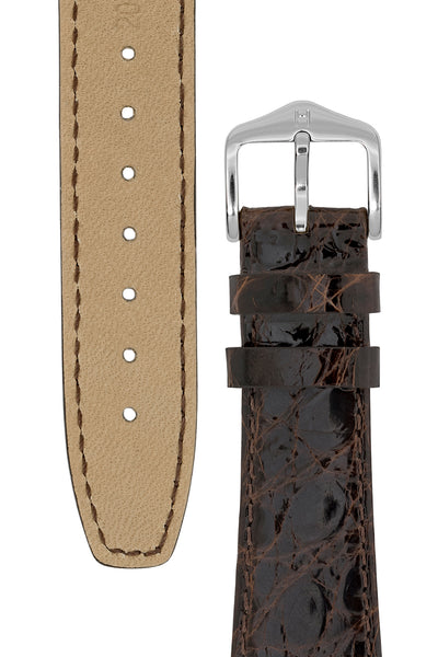 Hirsch GENUINE CROCO Open Ended Crocodile Leather Watch Strap in BROWN