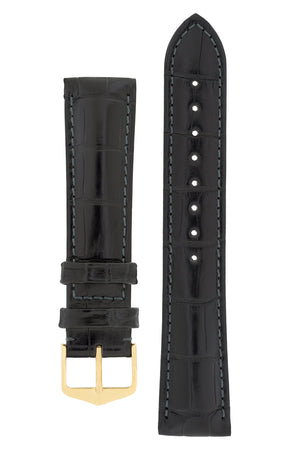 Hirsch Earl Genuine Alligator-Skin Watch Strap in Black (with Polished Gold Steel H-Tradition Buckle)