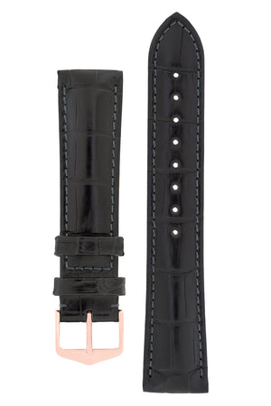 Hirsch Earl Genuine Alligator-Skin Watch Strap in Black (with Polished Rose Gold Steel H-Tradition Buckle)