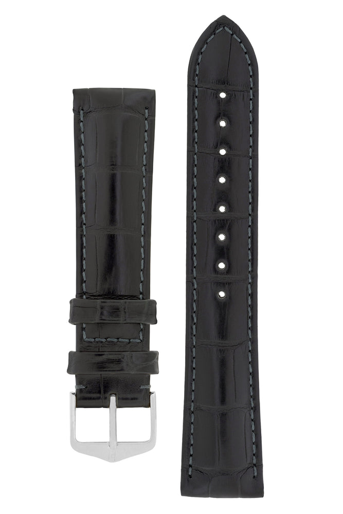 Hirsch Earl Genuine Alligator-Skin Watch Strap in Black (with Polished Silver Steel H-Tradition Buckle)