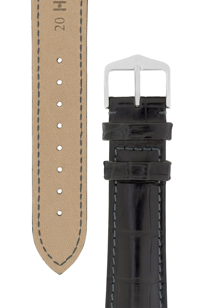Hirsch Earl Genuine Alligator-Skin Watch Strap in Black (Tapers & Buckle)