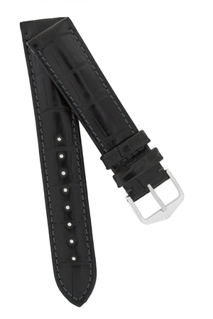 Hirsch Earl Genuine Alligator-Skin Watch Strap in Black
