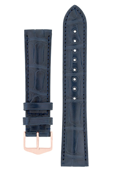 Hirsch EARL Genuine Alligator Watch Strap in BLUE