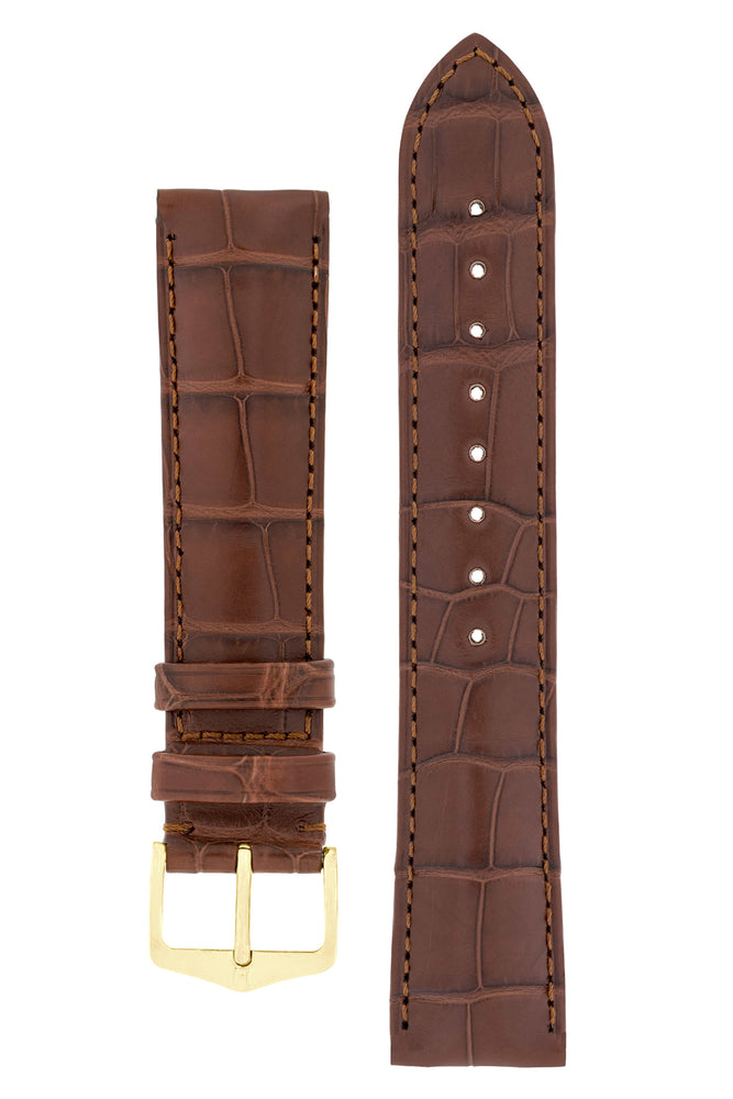 Hirsch Earl Genuine Alligator-Skin Watch Strap in Brown (with Polished Gold Steel H-Tradition Buckle)