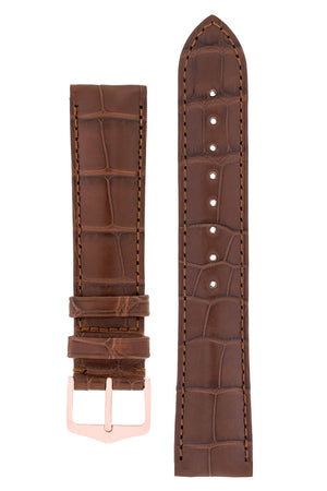Hirsch Earl Genuine Alligator-Skin Watch Strap in Brown (with Polished Rose Gold Steel H-Tradition Buckle)