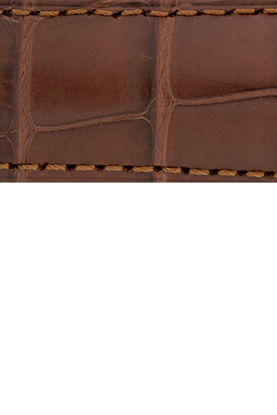 Hirsch Earl Genuine Alligator-Skin Watch Strap in Brown (Texture Detail)