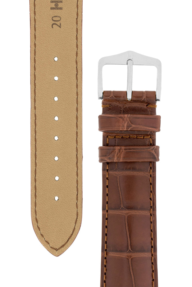 Load image into Gallery viewer, Hirsch Earl Genuine Alligator-Skin Watch Strap in Brown (Tapers & Buckle)