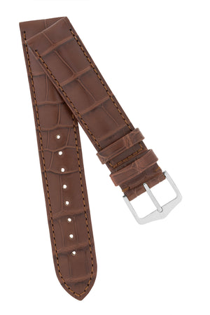 Hirsch Earl Genuine Alligator-Skin Watch Strap in Brown