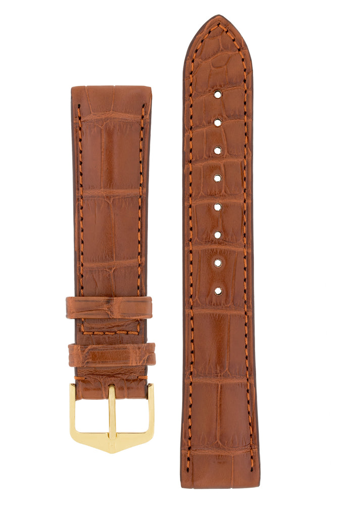 Hirsch EARL Genuine Alligator Watch Strap in GOLD BROWN