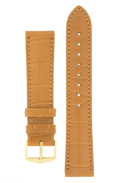 Hirsch Earl Genuine Alligator-Skin Watch Strap in Honey (with Polished Gold Steel H-Tradition Buckle)