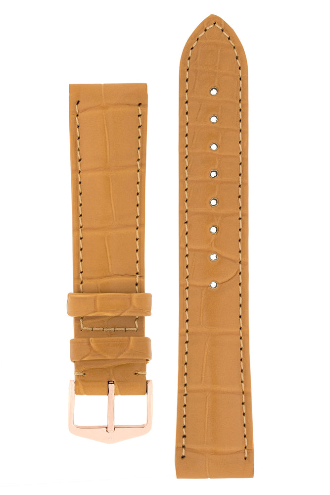 Hirsch Earl Genuine Alligator-Skin Watch Strap in Honey (with Polished Rose Gold Steel H-Tradition Buckle)