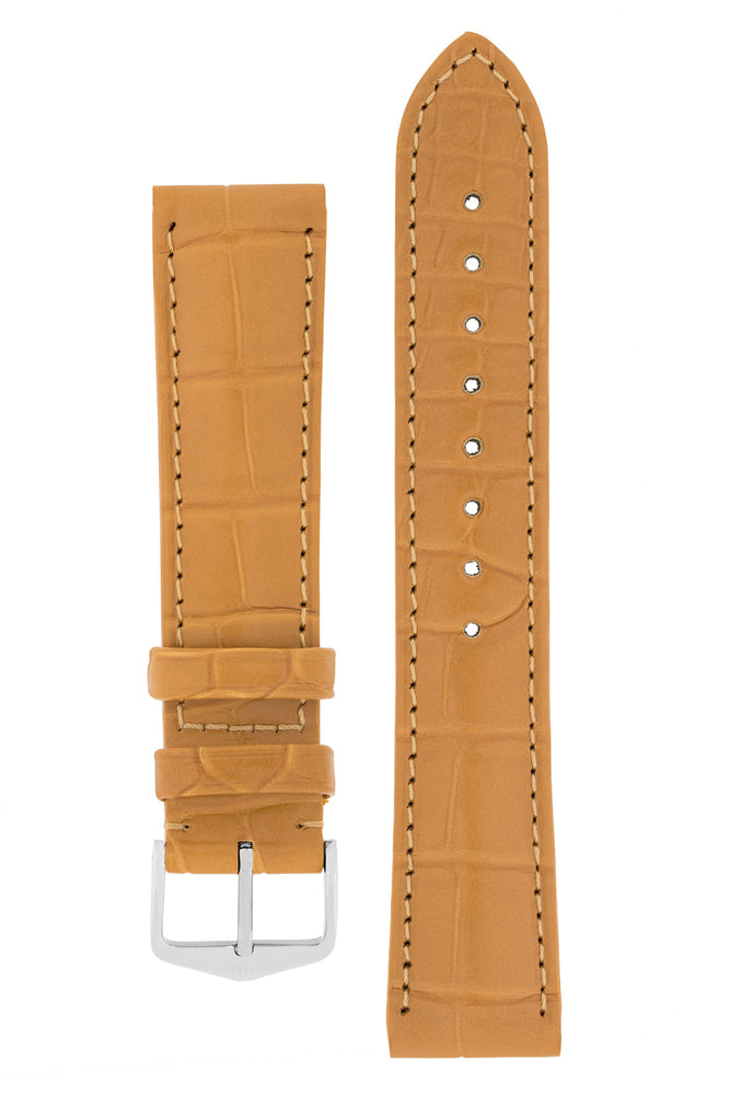 Hirsch Earl Genuine Alligator-Skin Watch Strap in Honey (with Polished Silver Steel H-Tradition Buckle)