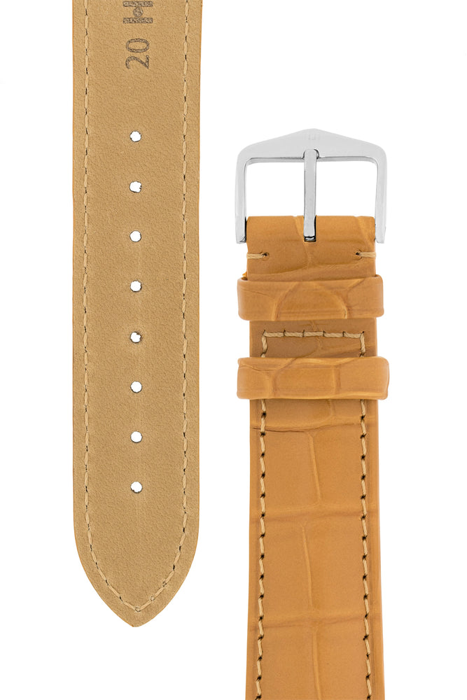 Hirsch Earl Genuine Alligator-Skin Watch Strap in Honey (Tapers & Buckle)