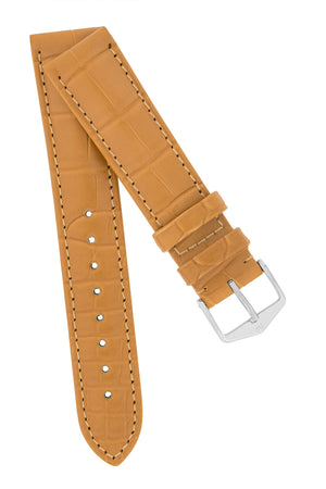 Hirsch Earl Genuine Alligator-Skin Watch Strap in Honey