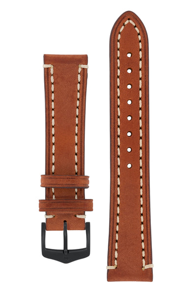 Hirsch Liberty Saddle Leather Watch Strap with Cream Stitch in Gold Brown (with Black PVD-Coated Steel H-Classic Buckle)