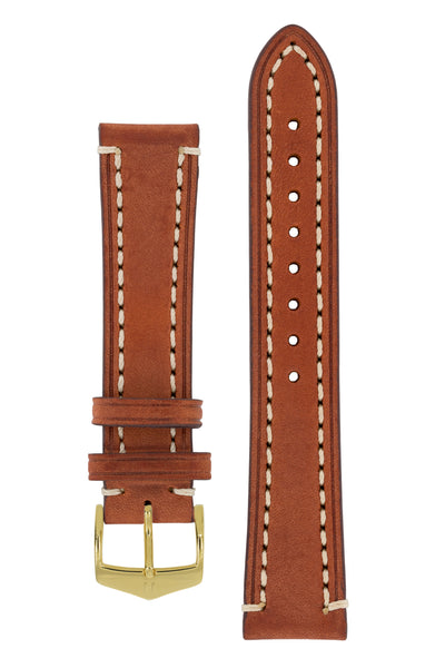Hirsch Liberty Saddle Leather Watch Strap with Cream Stitch in Gold Brown (with Polished Gold Steel H-Classic Buckle)