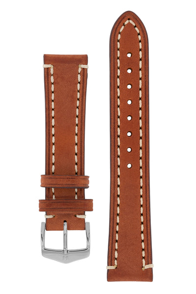 Hirsch Liberty Saddle Leather Watch Strap with Cream Stitch in Gold Brown (with Polished Silver Steel H-Classic Buckle)
