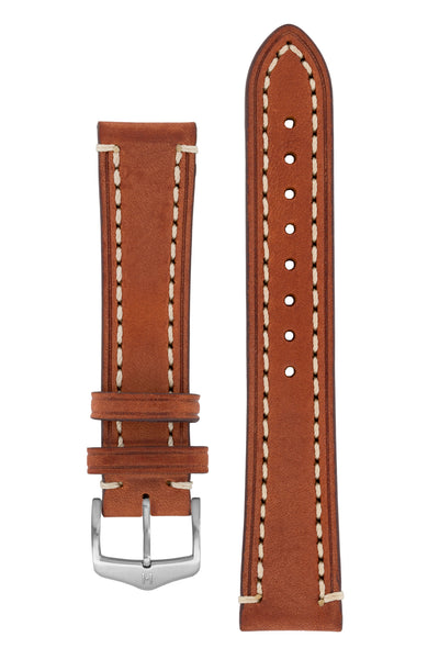 Hirsch Liberty Saddle Leather Watch Strap with Cream Stitch in Gold Brown (with Brushed Silver Steel H-Classic Buckle)