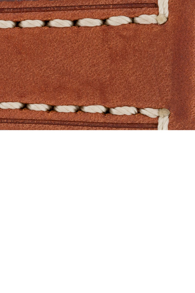 Hirsch Liberty Saddle Leather Watch Strap with Cream Stitch in Gold Brown (Close-Up Texture Detail)