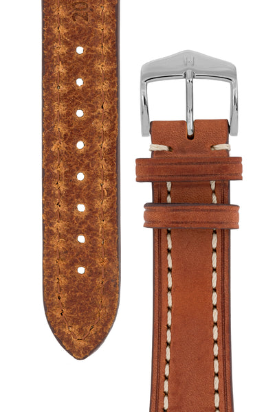 Hirsch Liberty Saddle Leather Watch Strap with Cream Stitch in Gold Brown (Underside & Tapers)