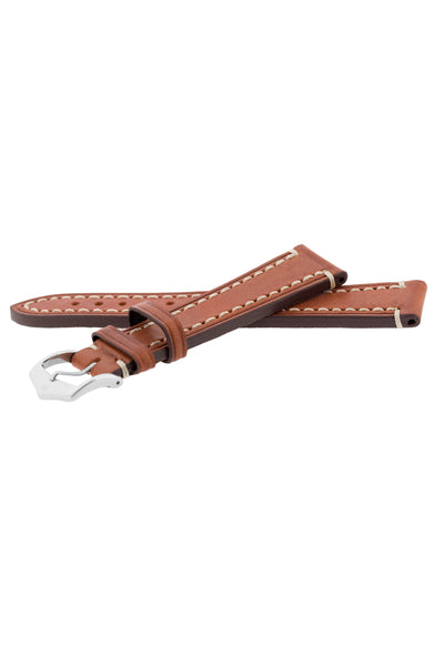Hirsch Liberty Saddle Leather Watch Strap with Cream Stitch in Gold Brown