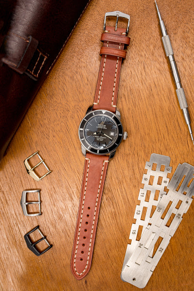 Hirsch Liberty Saddle Leather Watch Strap with Cream Stitch in Gold Brown (Promo Photo)