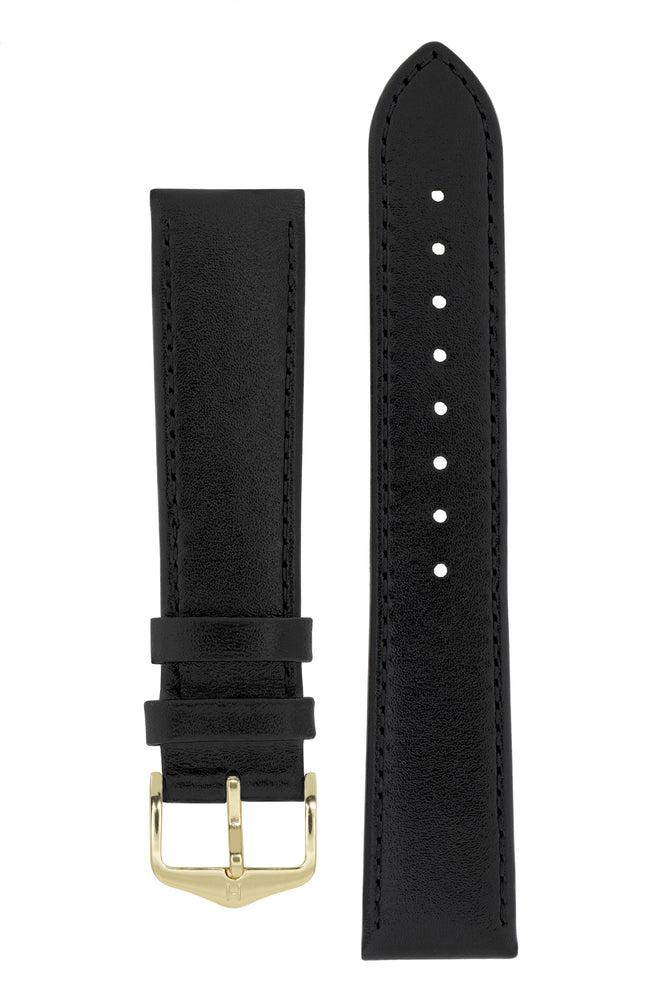 Hirsch Osiris Fine-Grained Calfskin Leather Watch Strap in Black (with Polished Gold Steel H-Standard Buckle)